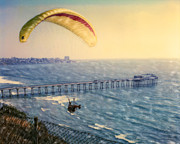 Shores Mixed Media - Paragliding Torrey Pines by Glenn McNary