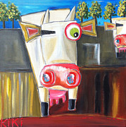 Irish Artists Painting Originals - Paranoid Cow and Friends by Kiki Roosli
