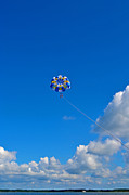 Parasail Posters - Parasail against Blue Sky Poster by Bill Morris