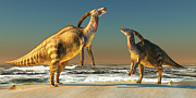 Parasaurolophus Framed Prints - Parasaurolophus Beach Framed Print by Corey Ford