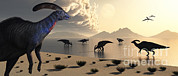 Digitally Generated Image Art - Parasaurolophus Dinosaurs Gather by Mark Stevenson