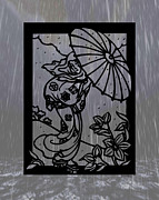 Asian Woman Framed Prints - Parasol Framed Print by Cheryl Young