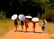 Parasols Paintings - Parasol Family by Anthony George
