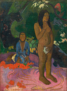 Signed Painting Framed Prints - Parau na te Varua ino Framed Print by Paul Gaugin