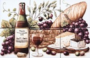 Still Life Ceramics Posters - Pardo Vineyards Wine and Cheese Poster by Julia Sweda-Artworks by Julia