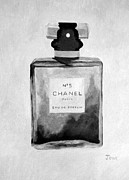 Fragrance Painting Prints - Parfum No.5 Black and White Print by Rebecca Jenkins