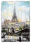 Eiffel Tower Drawings Metal Prints - Paris 10 in colour Metal Print by Tatiana Ivchenkova