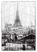 Eiffel Tower Drawings Metal Prints - Paris 10 Metal Print by Tatiana Ivchenkova