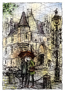 Umbrella Drawings Framed Prints - Paris 3 in colour Framed Print by Tatiana Ivchenkova