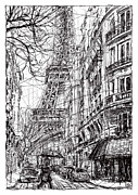 Eiffel Tower Drawings Metal Prints - Paris 5 Metal Print by Tatiana Ivchenkova
