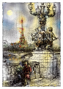 Lune Digital Art Framed Prints - Paris 7 in colour Framed Print by Tatiana Ivchenkova