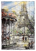 Eiffel Tower Drawings Metal Prints - Paris 9 in colour Metal Print by Tatiana Ivchenkova