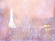 Surreal Paris Decor Photos Prints - Paris Abstract Eiffel Tower Art - Dreamy Surreal Paris Pink Eiffel Tower Abstract Bokeh Lights Print by Kathy Fornal