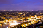 Paris And The River Seine Skyline View At Night Print by Mark E Tisdale