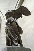 Louvre Museum Posters - Paris Angel Louvre Museum- Winged Victory of Samothrace Poster by Kathy Fornal