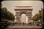 Cop Cars Framed Prints - Paris Arc de Triomphe 1949 Framed Print by Eric  Bjerke Sr