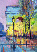 Buildings Paintings - Paris Arc de Triomphie  by Yuriy  Shevchuk