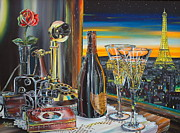 Wine Glasses Paintings - Paris At Sunset by Anthony Mezza