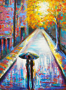 Rainy Street Painting Originals - Paris Backstreet Magic by Susi Franco