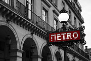 Black And White Paris Posters - Paris Black and White Metro Sign Photo - Paris Metro Sign Architecture Art Deco Poster by Kathy Fornal