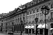 Romantic Paris Prints Prints - Paris Black and White Photography - Place Vendome Hotel Chaumet Architecture Street Lanterns Print by Kathy Fornal