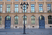 French Doors Metal Prints - Paris Blue Doors - Paris Street Architecture Street Lamps and Blue Doors - Place Vendome  Metal Print by Kathy Fornal