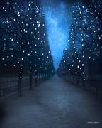 Dreamy Blue Paris Prints Prints - Paris Blue Surreal Fantasy Sparkling Trees - The Tuileries Park Print by Kathy Fornal