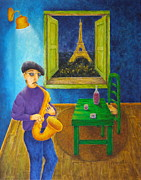 Wine Bottle Paintings - Paris Blues by Pamela Allegretto