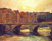 Cityscapes Prints - Paris Bridge Over The Seine Print by David Lloyd Glover