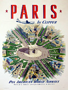 Champs Elysees Framed Prints - Paris by Clipper Framed Print by Nomad Art And  Design