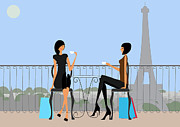 Moonlit Night Posters - Paris Cafe Poster by Adrian Hardcastle