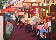Meal Paintings - Paris Cafe at Dusk by David Bartsch