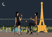 Moonlit Night Prints - Paris Cafe at night Print by Adrian Hardcastle