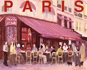 European Cafes Digital Art Prints - Paris cafe bar Print by J Reifsnyder