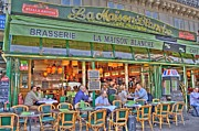 European Cafes Digital Art Prints - Paris Cafe in Summer Print by Matthew Bamberg