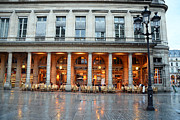 Night Photographs Posters - Paris Cafe Le Nemours - Famous Paris Cafe at Place Collette - Cafe Le Nemours Photography Poster by Kathy Fornal