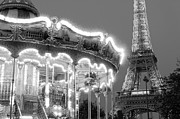 Black And White Paris Mixed Media Posters - Paris Carousel Poster by Adrian Alford