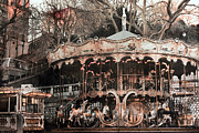 Surreal Paris Decor Photos Prints - Paris Carousel Merry Go Round Sepia -  Paris Carousel Montmartre District Sacre Coeur Print by Kathy Fornal