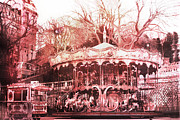 Surreal Pink Carnival Photography Framed Prints - Paris Carousel Montmartre District Red Carousel Framed Print by Kathy Fornal