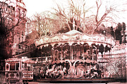 Paris In Sepia Framed Prints - Paris Carousel Montmartre District - Sacre Coeur Framed Print by Kathy Fornal