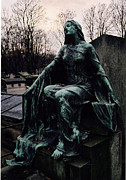 Grave Photos - Paris Cemetery Female Mourners - Montmartre Cemetery Surreal Gothic Female Mourner  by Kathy Fornal