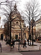 Winter Prints Photos - Paris City Streets Architecture Buildings People Winter Street Scene  by Kathy Fornal