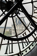 View Over Framed Prints - Paris Clock Framed Print by Brian Jannsen