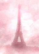 Romantic Paris Prints Prints - Paris Cottage Pink Dreamy Romantic Eiffel Tower Fantasy Pink Clouds Fine Art Print by Kathy Fornal