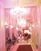 Surreal Paris Decor Photos Prints - Paris Crystal Chandelier Posh Pink Sparkling Hotel Interior and Sparkling Chandelier Hotel Lights Print by Kathy Fornal