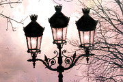 Photography Of Lamps Framed Prints - Paris Dreamy Baby Pink Street Lamps - Paris Pastel Shabby Chic Pink Street Lanterns Fine Art Photos Framed Print by Kathy Fornal