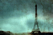 Night Photographs Posters - Paris Dreamy Eiffel Tower Teal Aqua Abstract Art Photo - Paris Eiffel Tower Painted Photograph Poster by Kathy Fornal