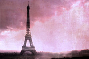 Night Photographs Posters - Paris Dreamy Pink Eiffel Tower Abstract Art - Romantic Eiffel Tower With Pink Clouds Poster by Kathy Fornal