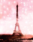 Framed Photos Prints - Paris Dreamy Pink Eiffel Tower With Hearts and Stars - Paris Pink Eiffel Tower Romantic Pink Art Print by Kathy Fornal