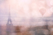 Paris Photography Prints - Paris Dreamy Pink Romantic Eiffel Tower - Paris Pink Eiffel Tower and Hot Air Balloons Print by Kathy Fornal